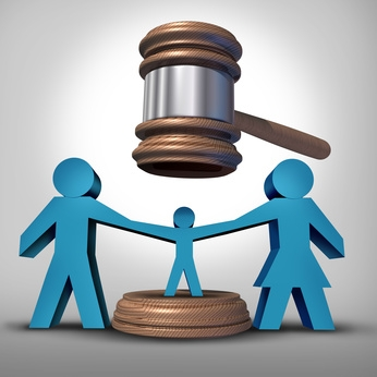 Child custody battle as a family law concept during a legal separation or divorce dispute as a father mother icon holding a child with a judge gavel or mallet coming down as a justice symbol for parenting rights.